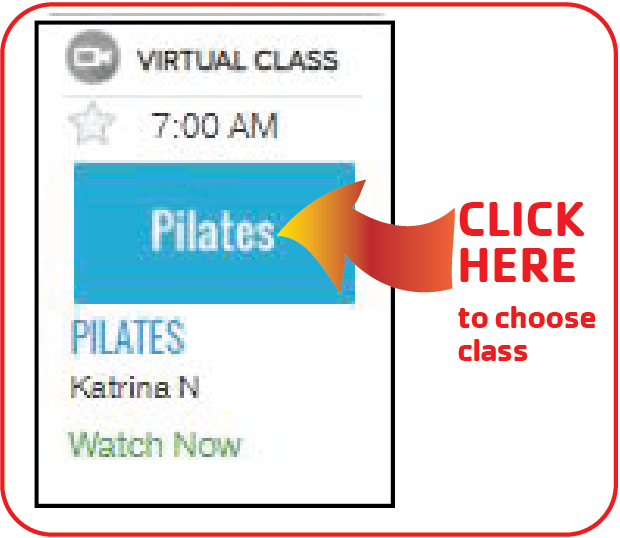 Click on the class name to choose the class