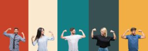 Collage Of Different Ethnics Young People Over Colorful Stripes Isolated Background Showing Arms Muscles Smiling Proud Fitness Concept